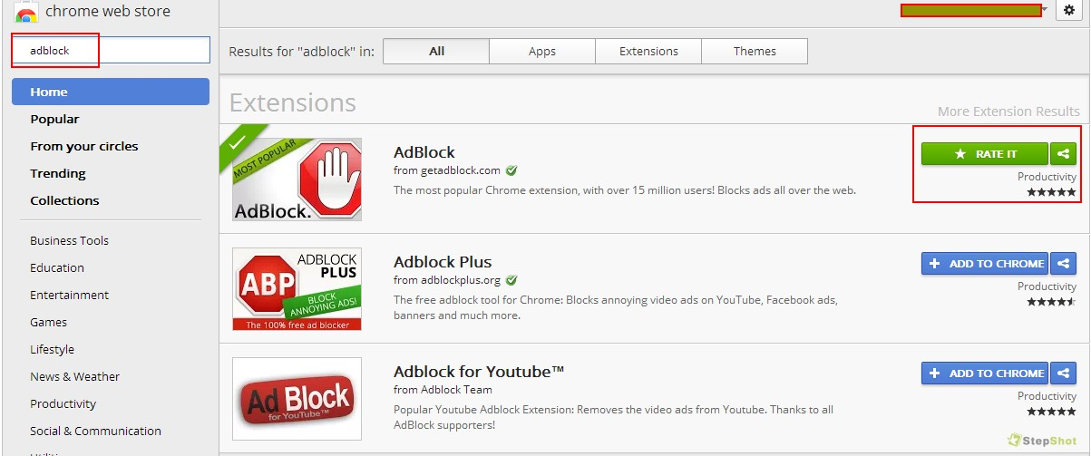 Search AdBlock , jika sudah ketemu klik tombol Add to Chrome